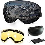 WLZP Gafas de esquí,Gafas Esqui Snowboard Sin Marco magnético para Mujer Hombre OTG Compatible,Gafas de Ventisca con protección UV Doble Lente Anti-Niebla