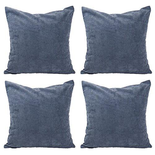 Sourcingmap - Juego de 4 Fundas de Almohada para sofá, sofá, Cama, etc, Azul Marino, 18' x 18', 4 Packs