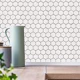 10 hojas de dosificador de panal hexagonal, azulejos de dosificación autoadhesivos 3D impermeables para cocina, baño, lavandería, 12' x 12' (sin costura)