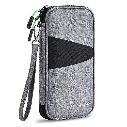 JESWO Reisepass Tasche Familie Reisepasshülle   RFID-Blocker Schutzhülle Reiseorganizer Reisedokumententasche Pass Etui Passport Hülle für Damen/Herren Grau (5 Pässe)
