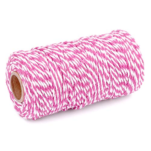 YZSFIRM 2 Roll 2mm Twine String,Rose Red and White Garden Cotton Rope,Bakers Twine Packing Cord for Gift Wrapping and DIY Crafts(656 Feet)
