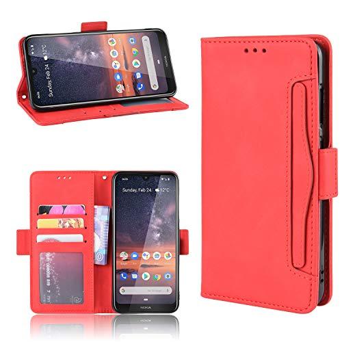 Snow Color Nokia 3.2 Hülle, Premium Leder Tasche Flip Wallet Case [Standfunktion] [Kartenfächern] PU-Leder Schutzhülle Brieftasche Handyhülle für Nokia3.2 - COBYU020738 Rot