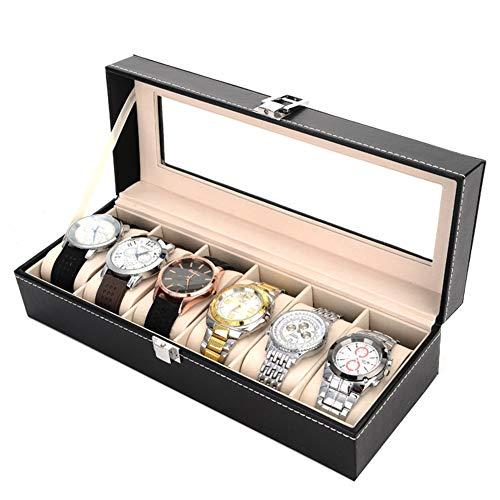 Caja para relojes, Mens 6 Caja de Relojes, Elegante vitrina de reloj con cerradura con llave Caja de reloj con tapa de vidrio, con almohadas extraíbles y con cerradura para hombres y mujeres