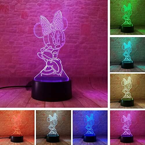 Dibujos animados Brillantes Niñas Mickey Minnie Mouse Ratón 3D Led Luz de Noche 7 Cambio de Color Lámpara de Mesa Decoración Dormitorio Regalos de Navidad Juguetes de Niños