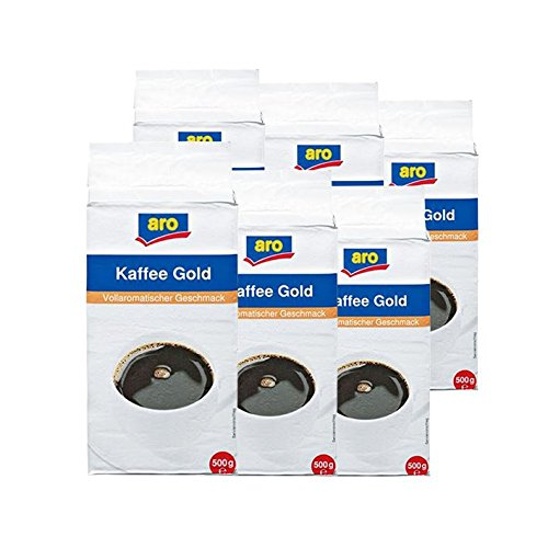 Aro Kaffee Gold gemahlen, 500g 6er Pack