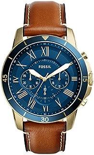 Fossil - Reloj de cuarzo para hombre, de acero inoxidable y cuero, color negro