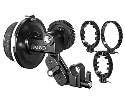 Movo F1X Precision Follow Focus System with 66mm, 77mm and 88mm Adjustable Gear Rings