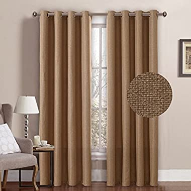 H.VERSAILTEX Classical Grommet Top Room Darkening Thermal Insulated Heavy Weight Textured Tiny Plaid Linen Like Innovated Living Room Curtains,52 by 84 Inch-Tan (1 Panel)