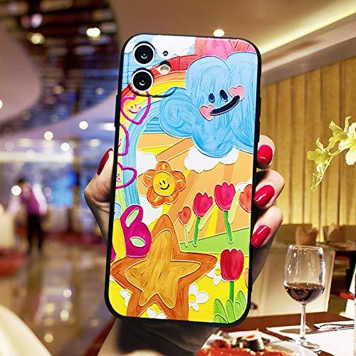 Adecuado para iphone6 / 6s / 7 / 8p / X/XR/XS MAX / 11 PRO MAX / 12 mini pro Max, caja de teléfono móvil de graffiti con pintura al óleo creativa de dibujos animados, protección de 360 grados