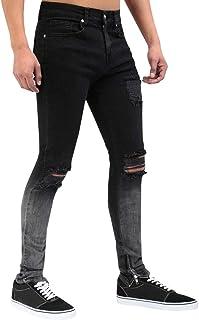 Men's Skinny Moto Biker Jeans Slim Fit Stretch Fashion Denim Pants Black