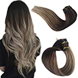 Clip in Real Remy Human Hair Extensions Clip on for Black/White Women Ombre...