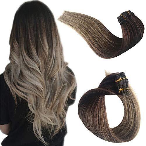 Benafee Hair Extensions Clip in Human Hair Clip on Real Remy Hair Extensions for Black/White Women Double Weft Ombre Medium Brown to Ash Brown Silky Straight Glueless Natural 70g 7pcs 16 Clips 18 Inch