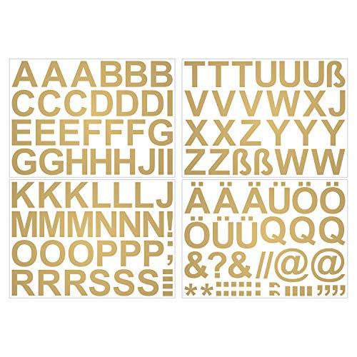 Leicht anzubringende Buchstaben Aufkleber 5cm in gold glänzend - 90 HOCHWERTIGE KLEBEBUCHSTABEN - Buchstaben zum aufkleben abc Alphabet - Wasser und wetterfest ideal für den Außenbereich