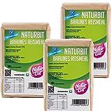 Braunes Reismehl glutenfrei 3 x 500 g Sparpaket | 1500 g dunkles Vollkornreismehl zum Backen und Panieren, als...