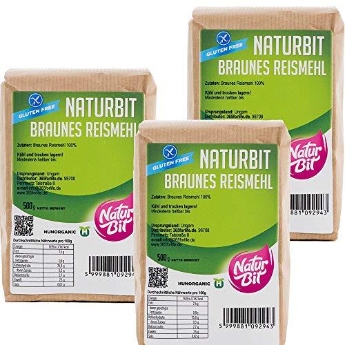 Braunes Reismehl glutenfrei 3 x 500 g Sparpaket | 1500 g dunkles Vollkornreismehl zum Backen und Panieren, als Bindemittel und für Teig | glutenfreie Alternative | brown rice flour