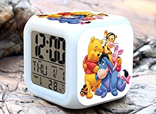 Cartoon Winnie The Pooh Digital LED 7 Changed Colorful Light Alarm Clocks Thermometer Night Electronic Kids Toys Best Gift for Children (Style 15)