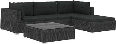 vidaXL 5 Piece Garden Lounge Set with Cushions Rustic Sturdy Steel Frame Outdoor Patio Backyard Sectional Sofa Poly Rattan Bl