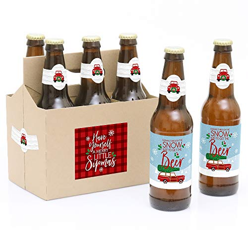 Big Dot of Happiness Merry Little Christmas Tree - Red Truck and Car Christmas Party Decorations for Women and Men - 6 Beer Bottle Label Stickers and 1 Carrier