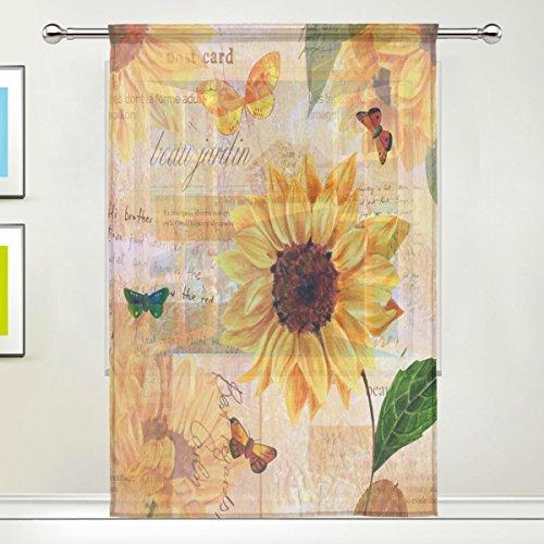 Use7 Shabby Chic Vorhänge mit Sonnenblumen und Schmetterlingen, 139,7 x 213,4 cm, 1 Stück, Moderne Fensterbehandlung, für Kinder, Zuhause, Wohnzimmer, Esszimmer, Spielzimmer, Dekoration