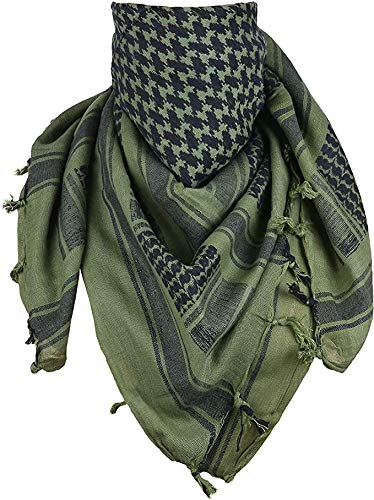 JuzziWorth Shemagh Scarf Arab Wrap Unisex Fashion Tactical wrap 100% Cotton Shemagh Men's Scarf Keffiyeh Head Wrap Neck Scarf Arab Wrap for Women and Men Desert Military Tactical (OD Green/Black)