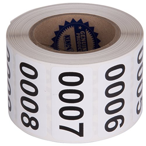 "Consecutively Numbered Labels Self Adhesive Durable Vinyl- Measure: 2"" X 1"" by Kenco (ROLL 001-500)"
