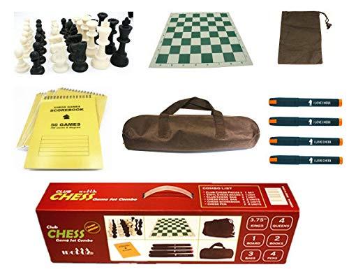 IDOPUZ️® All-Combo Juego de ajedrez Staunton Tournament al Mejor Precio   Tablero Enrollable de 51cm King 95mm   50 Juegos Socrebooks   Pluma de ajedrez   Juego de Mesa Chess Bag