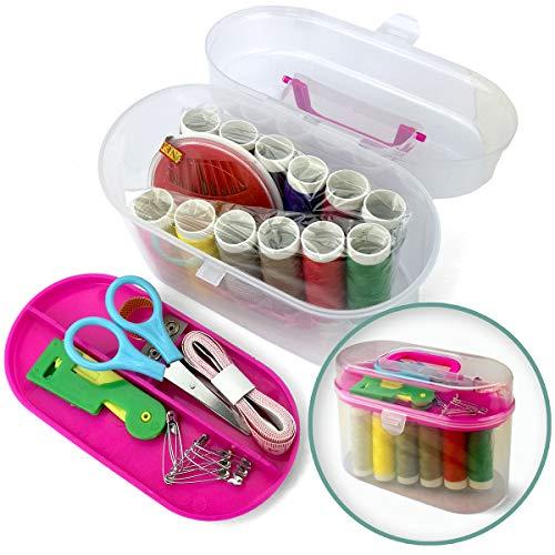 Faden und Nadel 50-teilige Nähbox, Nähset in praktischer Kunststoff-Box