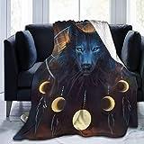 JOOCAR Mantas y mantas de franela manta para sofá/cama manta de felpa de lobo lunar manta mullida regalo para bebé niña niño papá mamá