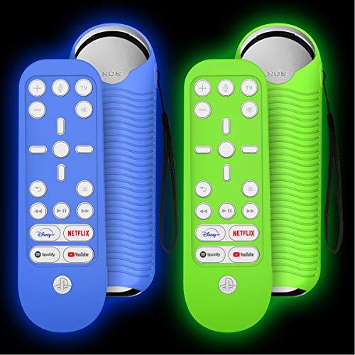 TOLUOHU Schutzhülle für PS5 Media-Fernbedienung, Silikon, für Playstation 5 Media-Fernbedienung, Sony Playstation 5, leuchtet im Dunkeln, mit Umhängeband, Blau + Grün leuchtend, 2 Stück