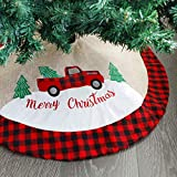 Juegoal Christmas 32 Inches Burlap Tree Skirt Soft Christmas Tree Mat for Xmas Party Decoration, Christmas Tree Holiday Décor