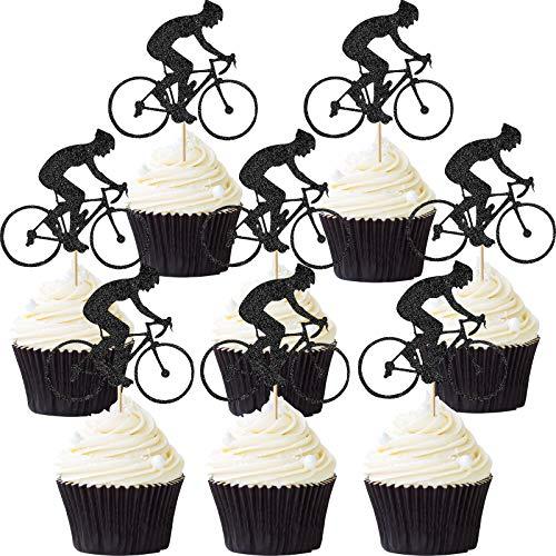 Blulu 72 Pezzi Bici Cupcake Topper Bicicletta Sport Torta Topper Glitter Decorazione Bicicletta Torta per Festa a Tema Bicicletta Compleanno Fornitura