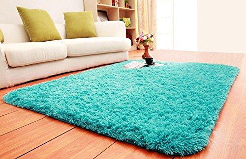 ACTCUT Super Soft Indoor Modern Shag Area Silky Smooth Fur Rugs Fluffy Anti-Skid Shaggy Area Rug Dining Living Room Carpet Comfy Bedroom Floor 4- Feet by 5- Feet (Blue)