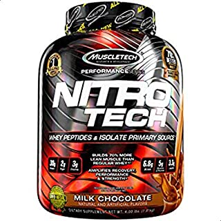 Muscletech Nitro-Tech Whey Isolate Lean Musclebuilder, Milk Chocolate, 4.0 lbs (1.80 kg)