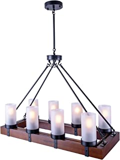 OYI Vintage Industrial Kitchen Island Light, 8 Lights Retro Pendant Light Fixture Rectangular Wood Frame Metal Hanging Chandeliers Ceiling Light Luminaire