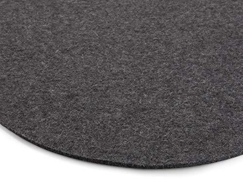 Modulor Filz-Sitzauflage für Stühle, rundes Sitzkissen aus 100% Wollfilz, auch als dekoratives Tischset geeignet, 33 cm im Durchmesser (Anthrazit meliert)