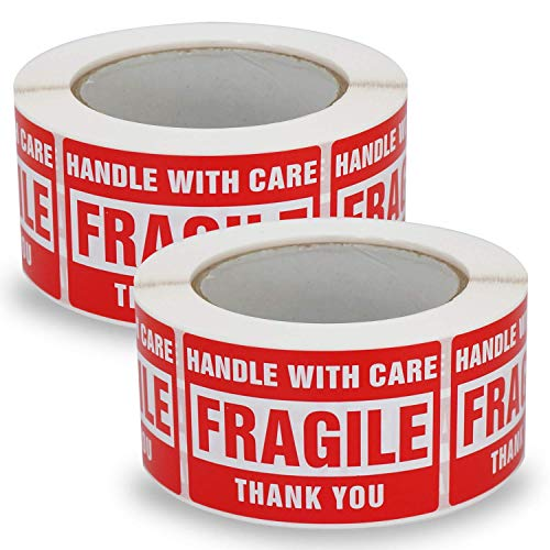 2 Rolls/1000 Labels, Handle with Care -Fragile-Thank You, Red Warning Shipping Label Stickers (50mm x 75mm) - BETCKEY