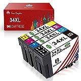 TonerKingdom 34XL Cartouches d'encre Compatibles(T3471 T3472 T3473 T3474), pour Epson Workforce Pro WF-3720DWF Workforce Pro WF-3725DWF (Noir/Cyan/Magenta/Jaune)