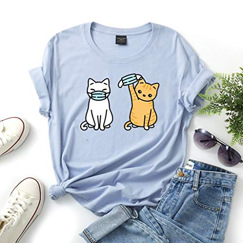 LXHcool Funny T-Shirt Cat Wearing a mask Coron_avirus I Survived Cov_id 19 T-Shirt Woman (Color : Blue, Size : XX-Large)