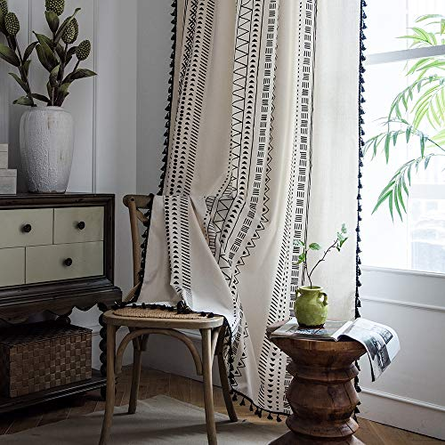 "ColorBird Geometric Semi-Blackout Window Curtains 2 Panels Bohemian Style Cotton Linen Darkening Curtains with Tassels Rod Pocket Window Drapes for Living Room Bedroom (51"" W x 84"" L Pair, Cream)"