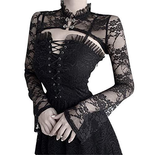 Zilosconcy Rockabilly Kleider Damen Gothic Kleidung Damen Halloween Karneval Gothic Hexe Cosplay Kostüm Elegantes Spitzen-Schal-Top + StrapskleidCosplay Kostüm Kurzes A-Linien Kleid