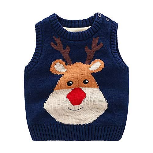 Eastern Corridor-EU Baby Jungen Mädchen Weihnachten Strickweste Fleece Innen Ärmellos Pullover Strickpullover Rundhals Weste Rot 12-18 Monate Gr. 2-3 Jahre , Blue Elk