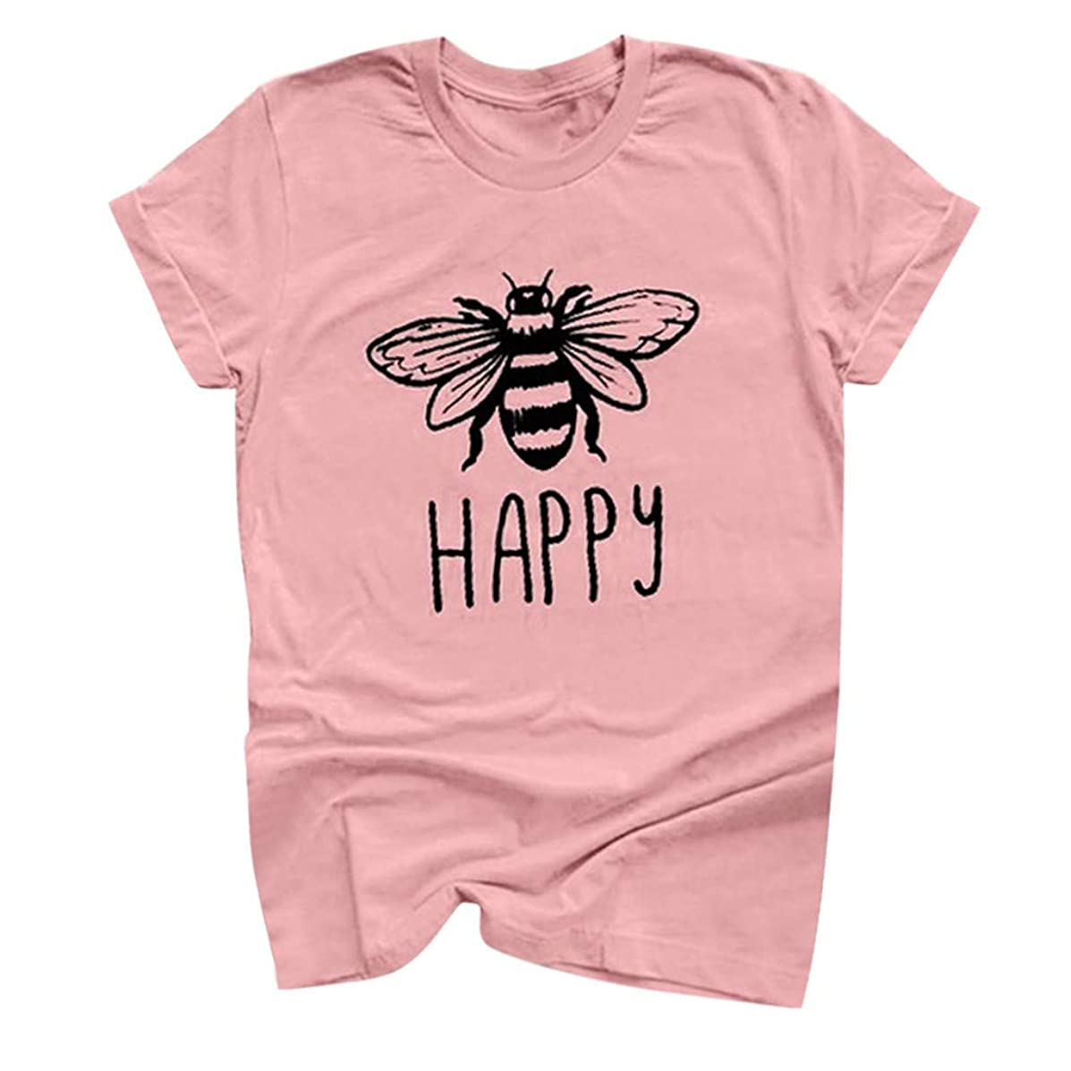 Tantisy ??? Womens Be Happy Graphic Tees Casual Short Sleeve Round T-Shirts Blouse Tops