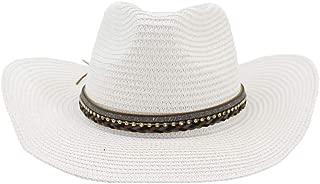Lady's Sun hat 2019 New Summer Hat Gem Panama Hat Hollowed Out Husk Hat Men's and Women's Leather Fedora Enceinte Beach Jazz Dance Hat Sun hat (Color : White, Size : 56-58CM)