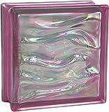 6 piezas BM bloques de vidrio AGUA perla amatista 19x19x8 cm
