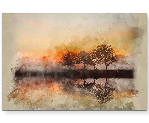 Paul Sinus Art Leinwandbilder | Bilder Leinwand 120x80cm Aquarellbild Herbstlandschaft