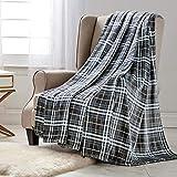 Manta de forro polar de franela de terciopelo sólido de felpa para sofá de cama, sofá (cuadros grises, manta de 127 x 152 cm)