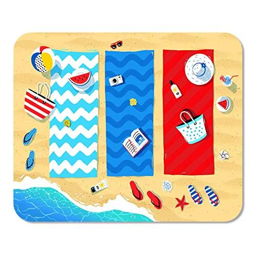 Mousepad Matte Sommer Strandmatten Seaside Surf Handtuch Regenschirm Kunst Natur Rechteck Mauspad Rutschfeste Spiel Schreibtisch Computer Laptop Gummi Glatte Oberfläche Langlebig