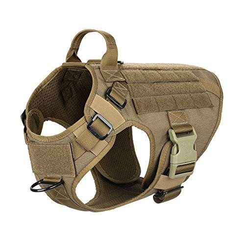 """ICEFANG Lightweighting Tactical Dog Harness with Handle,Working Dog Training Molle Vest,No-Pull Front Leash Clip, Hook and Loop Panel for Dog ID Patch (M(Chest 25""""-31""""), Coyote Brown)"""
