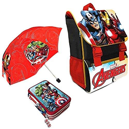 Kit Scuola 3 in 1 School Promo Pack Zaino Estensibile + Astuccio 3 Zip Accessoriato + Ombrello Salvaspazio MARVEL AVENGERS Super Eroi Edizione Nuova