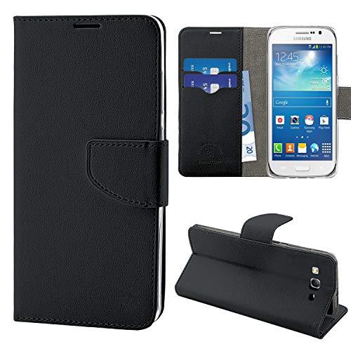 N NEWTOP Cover Compatibile per Samsung Galaxy Grand Neo/Duos i9060 i9082, HQ Lateral Custodia Libro Flip Chiusura Magnetica Portafoglio Simil Pelle Stand (Nera)